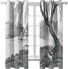 LHUTY Blackout curtain for kids bedroom Ink and