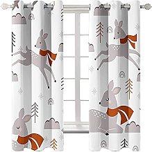LHUTY Blackout curtain for kids bedroom Moose 2x