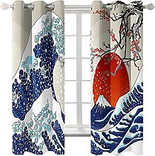 LHUTY Blackout curtain for kids bedroom Sea Waves
