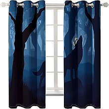 LHUTY Blackout curtain for kids bedroom Wolf at