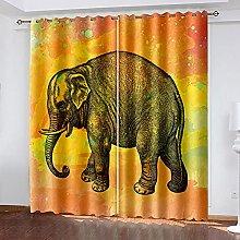 LHUTY Blackout Curtains Elephant 2x W66x L72 inch