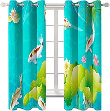 LHUTY Blackout Curtains Fish at the bottom of the