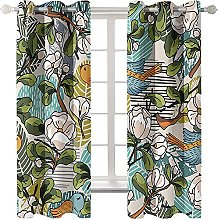 LHUTY Blackout Curtains Flowers and Birds 2x W46x