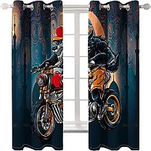 LHUTY Blackout Curtains Motorbike 2x W55x L96 inch