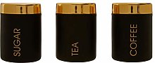 Liberty Black and Gold Tea Coffee Sugar Canister Se
