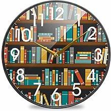 Library Bookshelf Bookworm Educational Round Wall