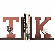 LICHUAN Bookends TK letters Bookends Wood Book