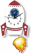 LICHUXIN Cartoon Rocket Wall Clock, Creative Cute