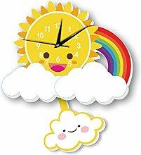 LICHUXIN Children Cartoon Wall Clock, Cute Sun