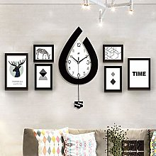 LICHUXIN Wall Clock Photo Frame Set, Nordic