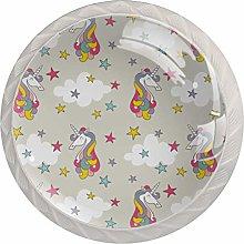 Licorne Light Gray Star White Crystal Drawer
