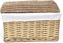 Lidded Wicker Storage Basket With Lining Xmas