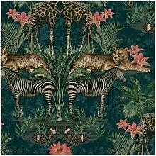 Life Animal Kingdom Teal Wallpaper A49304 -