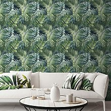 Life Nomad Antigua Palm Teal Green Wallpaper