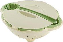 Life Plastic Salad Colander, Lid and Spoon, Beige,