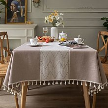 LIFEDX Tablecloth Rectangular With Tassel Wave
