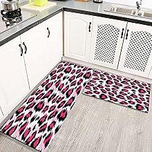 LIFEFREE Kitchen Mats Rug Set, Fashionable Pink