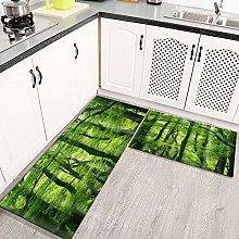 LIFEFREE Kitchen Mats Rug Set, Fresh Green Rain
