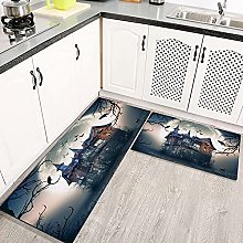 LIFEFREE Kitchen Mats Rug Set, Haunted House with