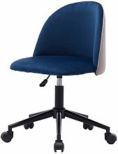 lifetech Blue Velvet Desk Chair no Arms with Ring