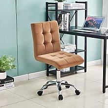 Lifetech Brown Velvet Desk Chair No Arms Office