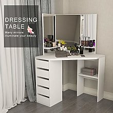 Lifetech Corner Dressing Table Makeup Desk with 3