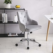 Lifetech Grey Velvet Office Chair with Wheels and