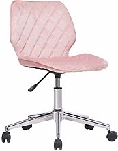 lifetech Pink Velvet Desk Chair no Arms with
