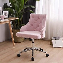 Lifetech Pink Velvet Office Chair with Wheels and