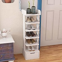 Lifetech Wooden Shoes Rack White 6 Tiers Shoe Rack