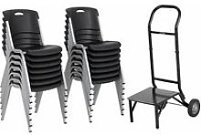 Lifetime 14 Pack Stacking Chair and 1 Dolly Combo