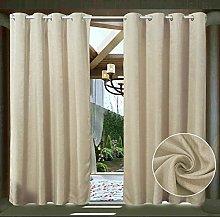 LIFONDER Cream Beige Outdoor Curtain Meteor style