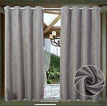 LIFONDER Grey Blackout Outdoor Curtains -