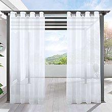 LIFONDER Sheer Outdoor Curtain Panels - Ring Top