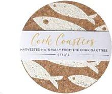 LIGA - Cork Coasters Fish White Set - Coaster Set
