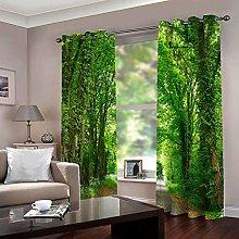 LIGAHUI Blackout Curtains Big green tree 2x W46x