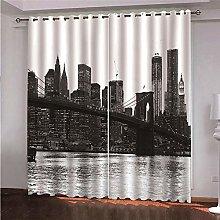 LIGAHUI Blackout Curtains Black and white New York