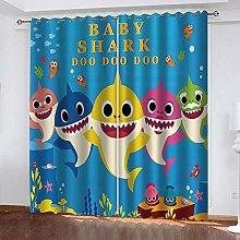 LIGAHUI Blackout Curtains Blue shark 2x W46x L72