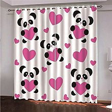 LIGAHUI Blackout Curtains Cartoon panda girl 2x
