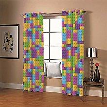 LIGAHUI Blackout Curtains Color lego puzzle 2x