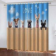 LIGAHUI Blackout Curtains cute dog 2x W46x L72
