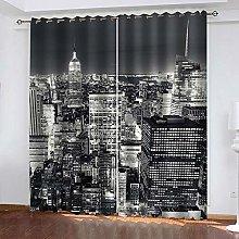 LIGAHUI Blackout Curtains Gray New York City 2x