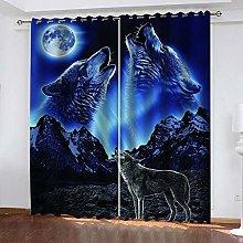 LIGAHUI Blackout Curtains Moon Night Wolf & Blue