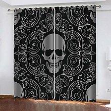 LIGAHUI Blackout Curtains skull 2x W46x L72 inch