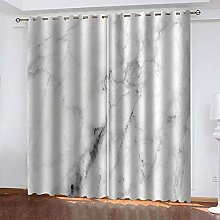 LIGAHUI Blackout Curtains White & Marble 2x W46x