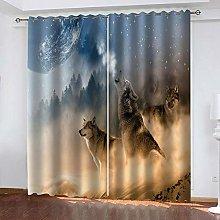LIGAHUI Curtains BlackoutAnimal wolf 2x W46x L72