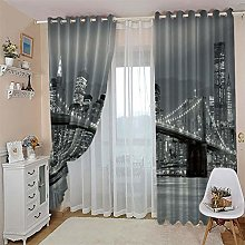 LIGAHUI Curtains BlackoutGrey & Brooklyn Bridge 2x