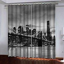 LIGAHUI Curtains BlackoutGrey & New York City 2x