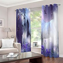 LIGAHUI Curtains BlackoutPurple & Unicorn 2x W46x