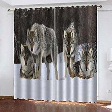 LIGAHUI Kids Blackout Curtains Animal wolf 2x W66x